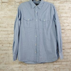 BANANA REPUBLIC STRIPE BUTTON SHIRT SZ L